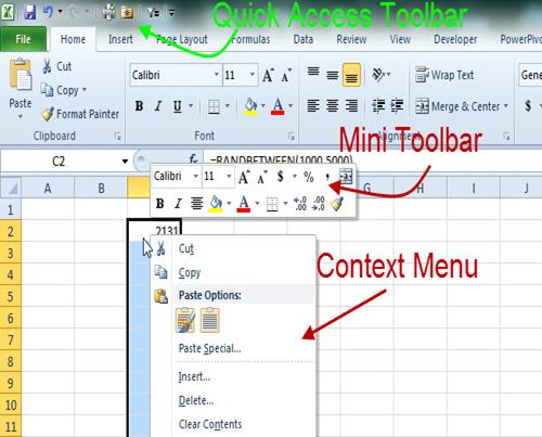 quick access toolbar excel