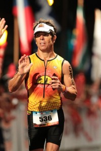 Hudson finishing the Ironman World Championship in Kona, Hawaii.