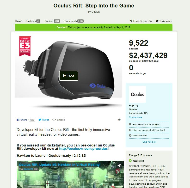 Oculus Kickstarter page