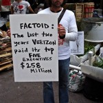 This Occupy Wall Street protester in 2011 reflects strong societal sentiment on executive compensation.