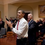 President Obama and Vice President Biden react to the passage of the Affordable Care Act on March 21, 2010.