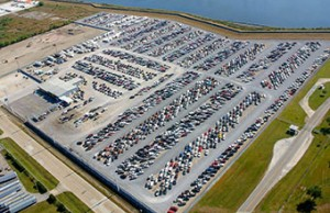 One of Copart's wrecked-car yards.