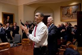The President and White House staff react to the House's passage of the ACA in 2010.