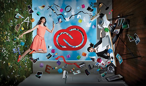 Adobe used its own products to create this depiction of the applications and services that customers can access though the company's Creative Cloud package.