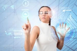 Woman touching the virtual future interface