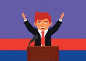 Vector illustration of a politician making a speech at a platform.