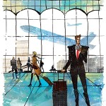 Illustration of businessman at airport