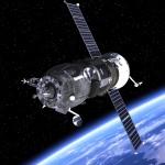 "Spacecraft ""Progress"" Orbiting Earth. 3D Scene."