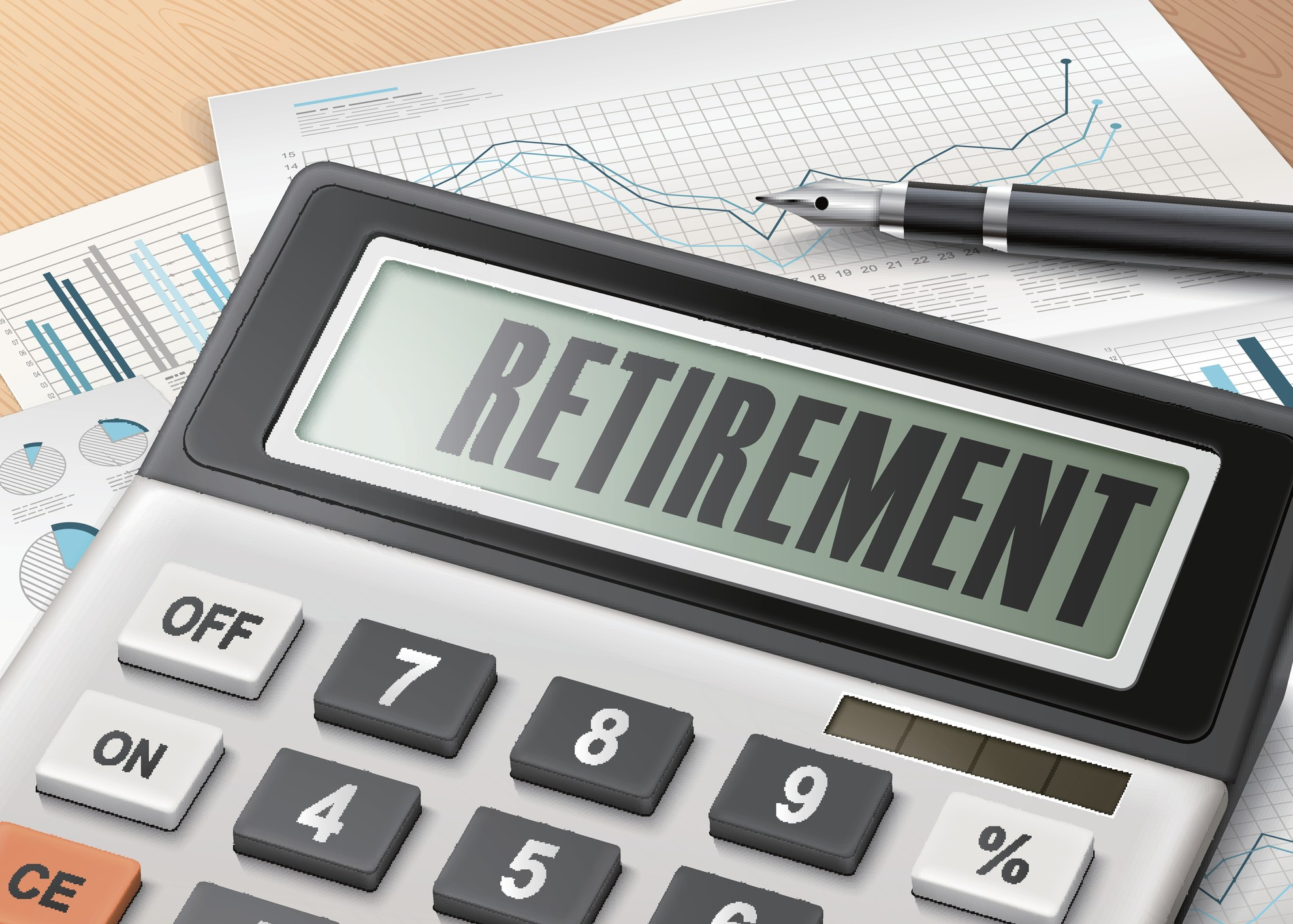 calculator with the word retirement cfo