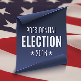 Presidential Election 2016 background on blue curved paper banner on top of american flag. Poster, brochure or flyer template. Vector illustration.
