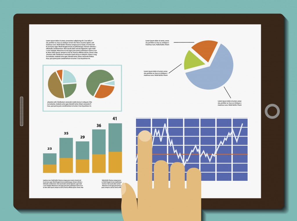 Financial graphs on tablet screen. Financial analysis. Stock Vector.