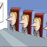 Concept Cartoon Illustration of Presentation to the Board of Directors