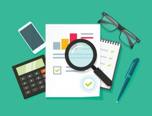 Auditor work desk, accounting business research, financial audit, tax report