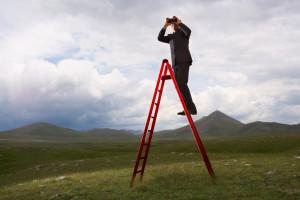 Businessman with Binoculars on Ladder