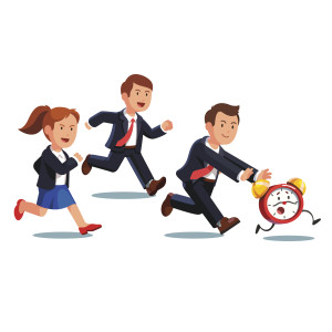 Late business man and woman team chasing deadline time in a rush hour. Businessman and businesswoman running after animated alive clock with legs. Flat style vector illustration.