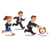 Late business man and woman chasing deadline time
