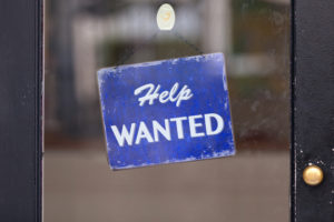 U.S. unemployment help wanted sign