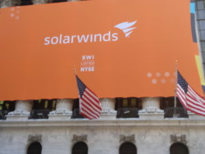 SolarWinds banner on NYSE building