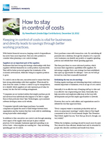 How to Stay in Control of Costs